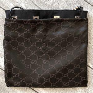 EUC GUCCI Nylon Leather Drawstring Bucket Bag